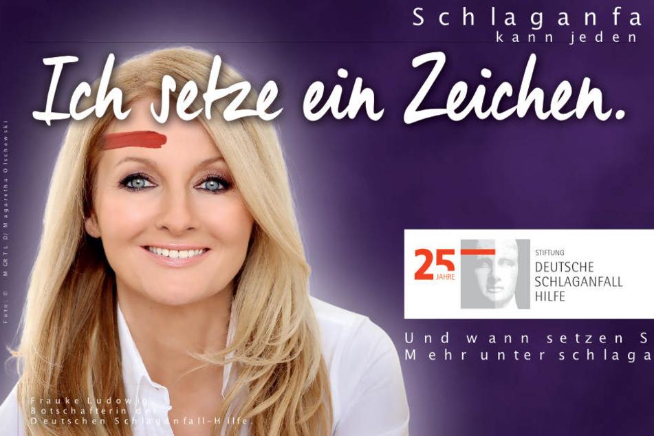 Das Plakat mit Frauke Ludowig zur Kampagen der Schlaganfall-Hilfe.