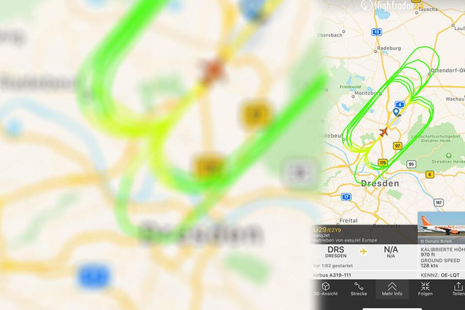 Zu Start-und Landeübugen ist eine EasyJet-Maschine über Dresden unterwegs.