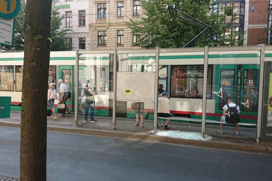 Eine Scheibe des Straßenbahnwartehäuschens am Magdeburger Hasselbachplatz ging in der Nacht zu Freitag durch den Schuss aus einer CO2-Waffe zu Bruch.
