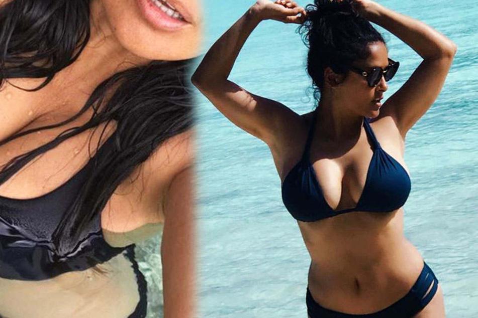 Sexy! Salma Hayek posiert vor der Kamera auf Bora Bora.
