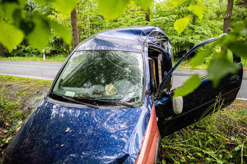 Der Opel-Fahrer prallte erst gegen zwei Verkehrsschilder und einen Baum und landete zum Schluss im Graben.