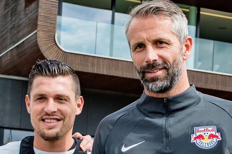 Red-Bull-Salzburg-Trainer Rose (r.) mit seinem Schützling Ex-Bremer Zlatko Junuzovic (l.).