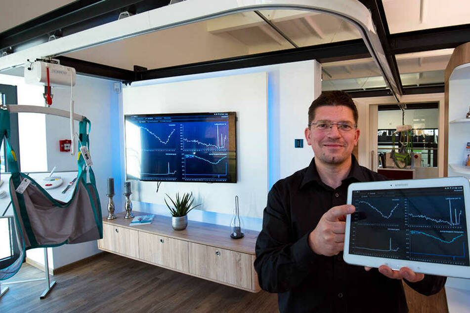 Marek Kretzschmar (45), Wissenschaftlicher Mitarbeiter, zeigt, wie verschiedene Energiewerte in Verbindung mit Smart Home auf einem Tablet ausgewertet werden können.