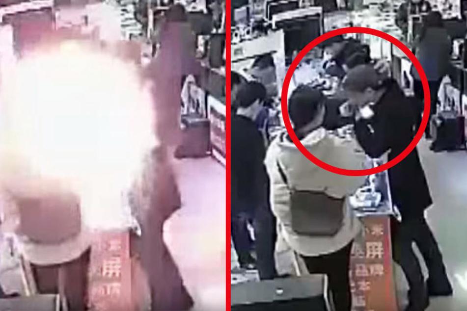 Mann beißt in iPhone-Akku! Kurz darauf wird es explosiv