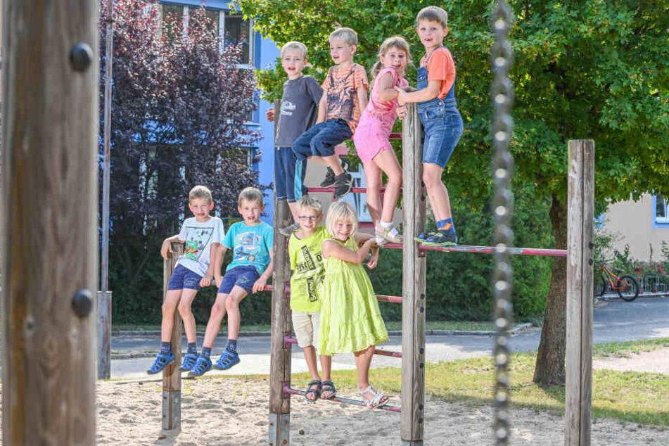 Doppelt gemoppelt: Ludwig und Arthur (7), Nico und Finn (6), Lina und Aaron (7, unten) sowie Elisabeth und Konstantin (6). Nicht auf dem Foto sind Hannes und Hannah (7).