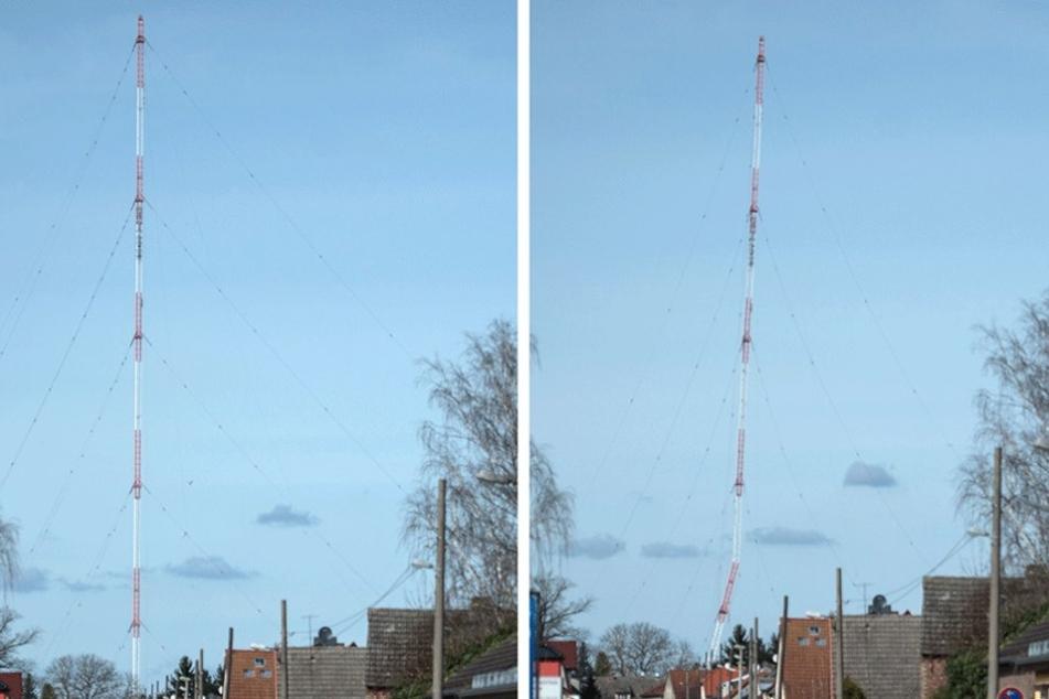 Der Funkturm vor und kurz (re.) nach der Zündung.