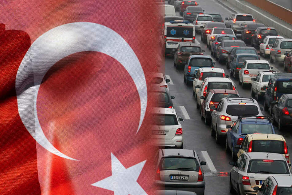 Türkische Hochzeit blockiert A8. (Fotomontage)