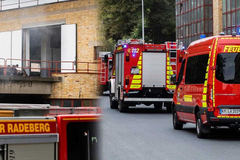 Gefährlicher Brand in Radeberg: Gebäude einsturzgefährdet, umliegende Firmen geräumt
