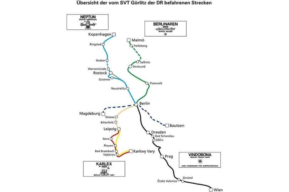 """Einer der """"Ost-ICE"""" hieß Karlex. Er fuhr von Berlin über Leipzig nach Karlovy Vary. Nach der Sanierung soll der historische Zug die Strecke dann und wann wieder fahren."""