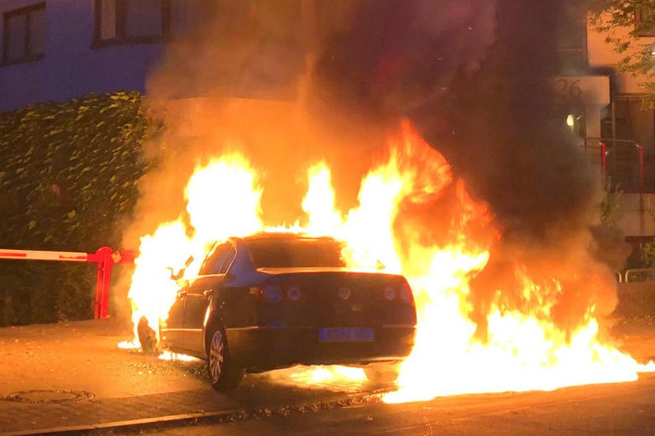 Der Fahrer konnte sein Wagen noch abstellen, bevor dieser komplett in Flammen aufging.