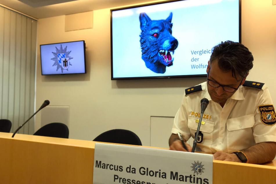 Marcus da Gloria Martins, Sprecher der Münchner Polizei, sitzt vor einem Bildschirm auf dem die Polizei ein Vergleichsbild einer Wolfsmaske präsentiert.