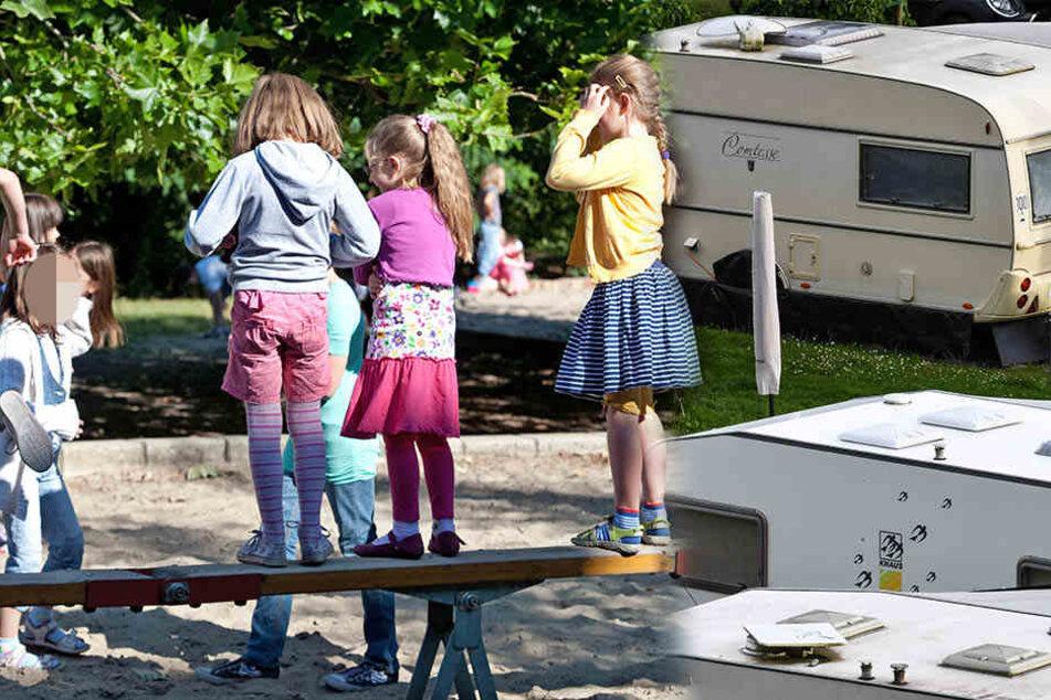 In Aken (Sachsen-Anhalt) soll ein verurteilter pädophiler Mann von seinem Wohnwagen aus spielende Kinder beobachten.(Bildmontage)