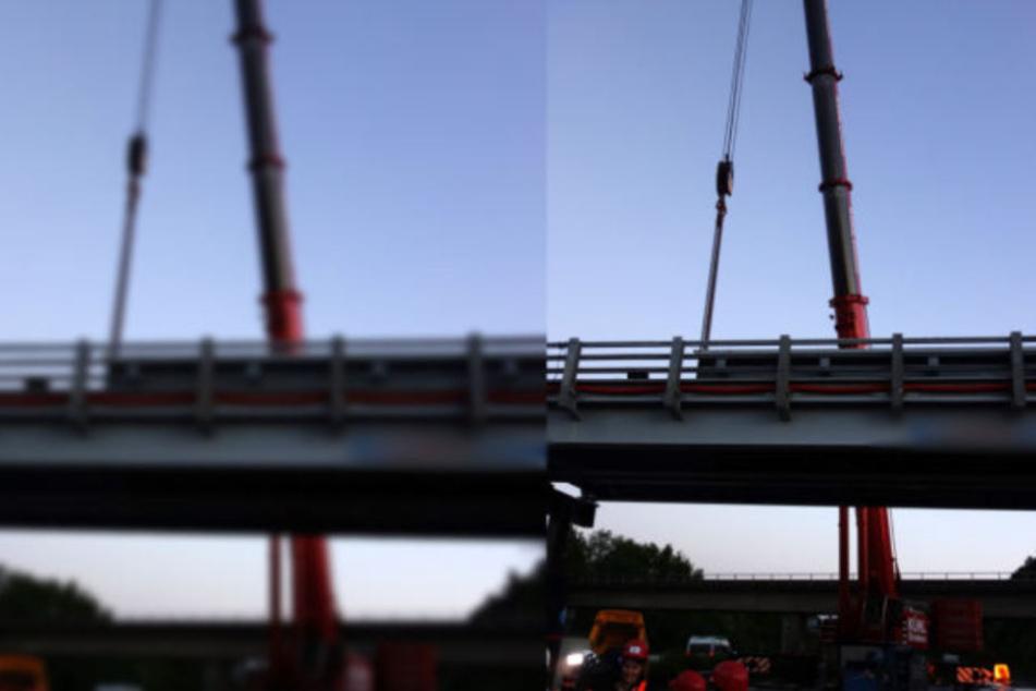 Vollsperrung auf A44: Betonbrocken knallt auf Stützpfeiler