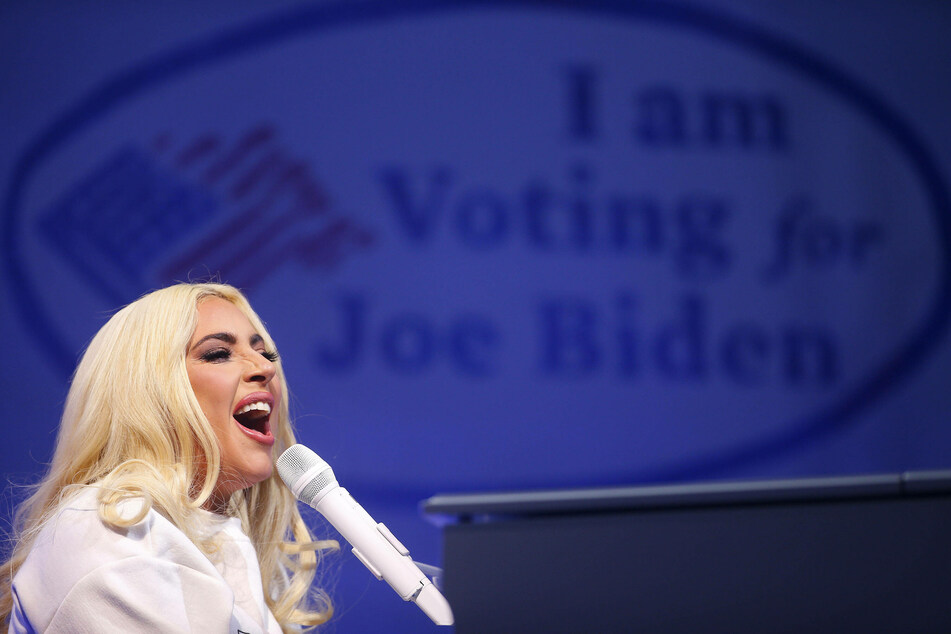 Pop star Lady Gaga performed Shallow, her Grammy-winning song from the 2018 film, during the campaign event.