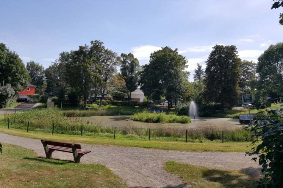 In diesem Park vor der Tauchaer Sparkasse will eine Zeugin den flüchtigen Mike W. (43) gesehen haben.