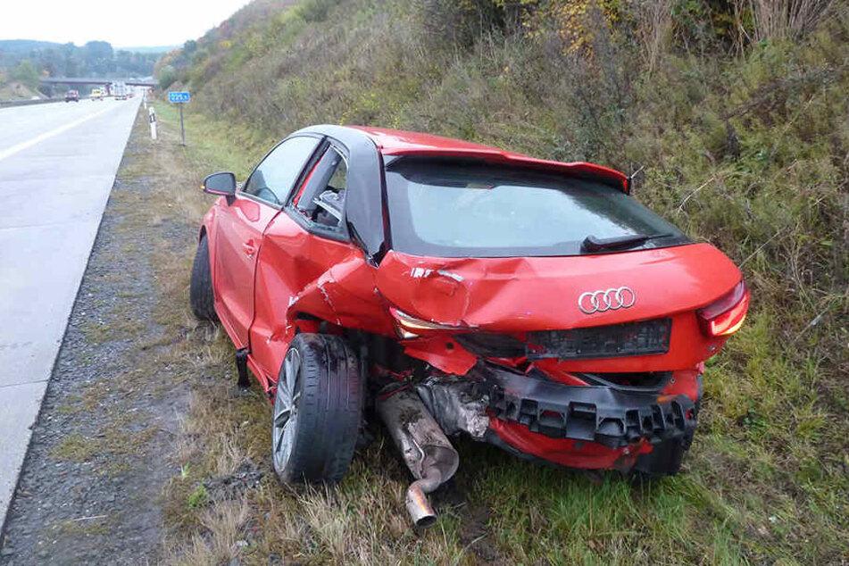Der Audi wurde im Heckbereich schwer beschädigt