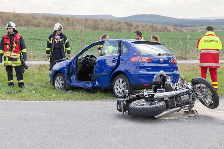 Bei diesem Unfall bei Dohna kam ein 63-jährige Motorradfahrer ums Leben (Archivbild).