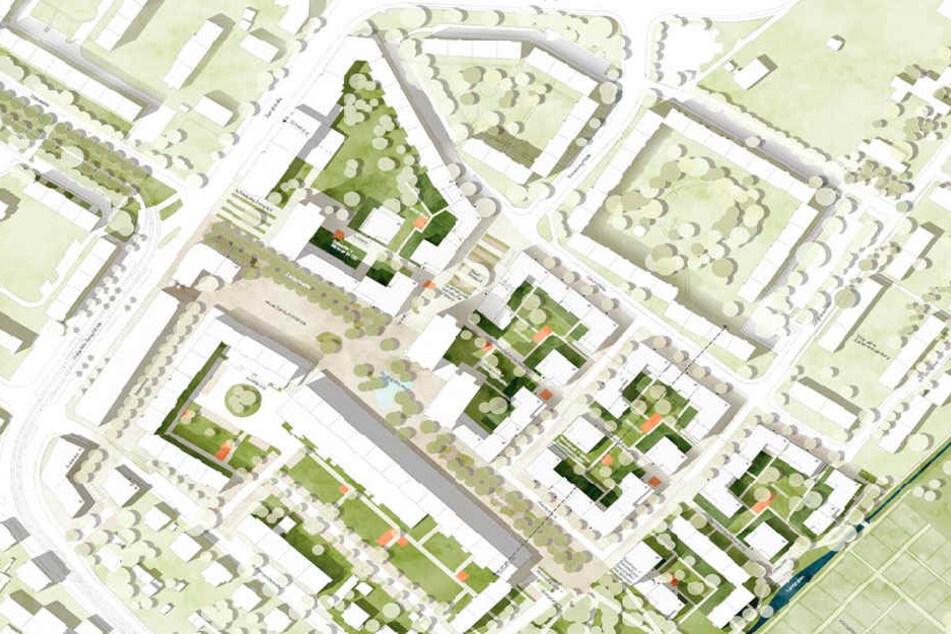 So könnte künftig der Platz zwischen Zwinglistraße und Rosenbergstraße in Altgruna aussehen.