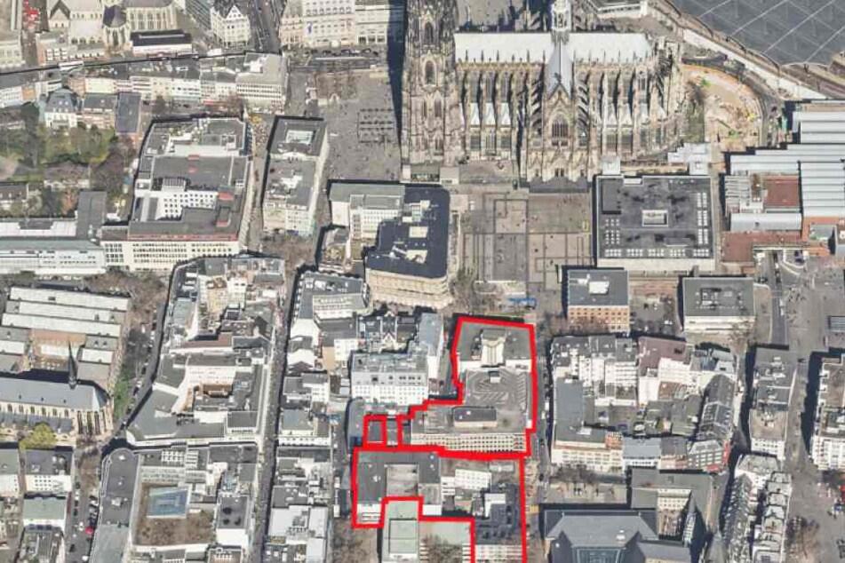 Der rot markierte Bereich zeigt das Areal für das geplante Laurenz Carré.