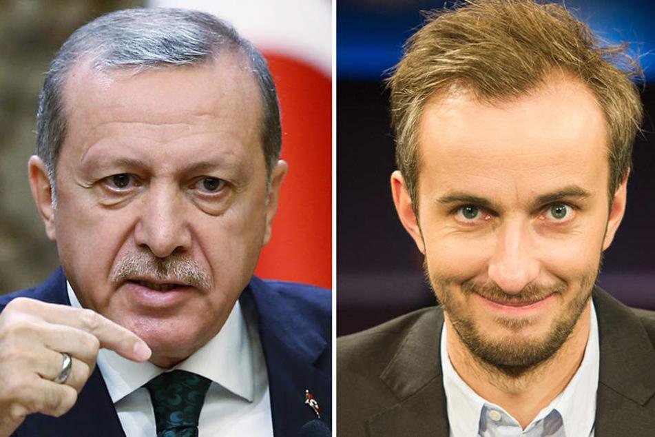 Die Bildkombo zeigt den türkischen Ministerpräsidenten Recep Tayyip Erdogan (l) und den Moderator Jan Böhmermann.