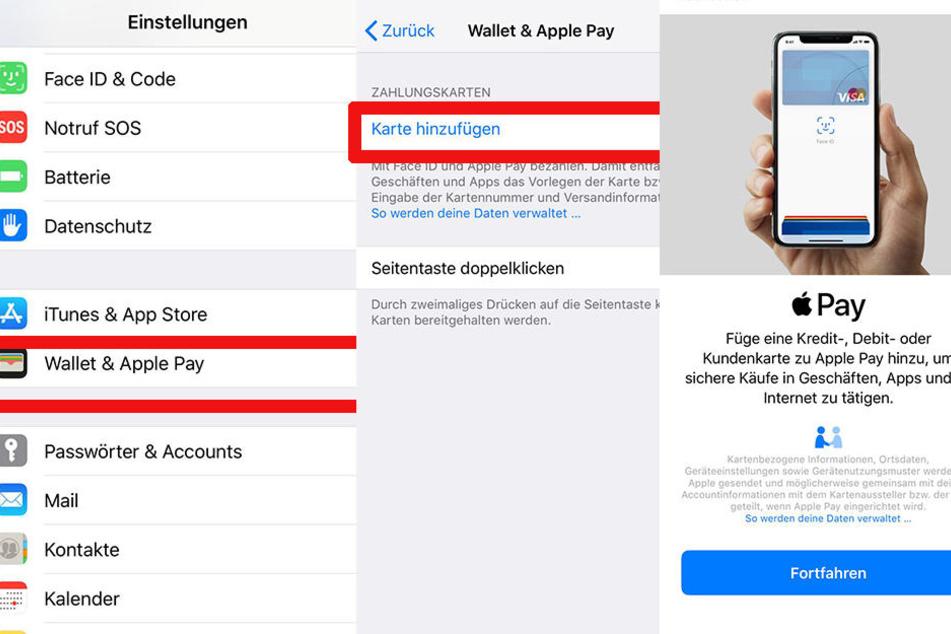 """Wir haben den Selbstversuch gemacht: Wir müssen über Einstellungen zu Wallet/Apple Pay, dort können wir dann auf """"Karte hinzufügen"""" gehen."""
