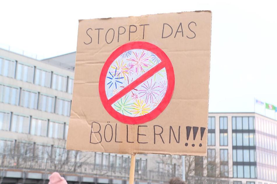 """""""Stoppt das Böllern"""" fordert ein Teilnehmer der Demonstration per Plakat."""