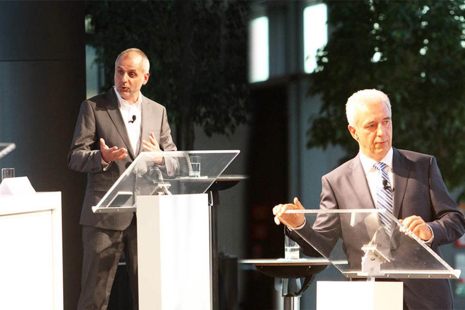 Linke-Fraktions-Chef Rico Gebhardt (54, links) fordert eine Erklärung von Noch-Ministerpräsident Stanislaw Tillich (58, rechts).