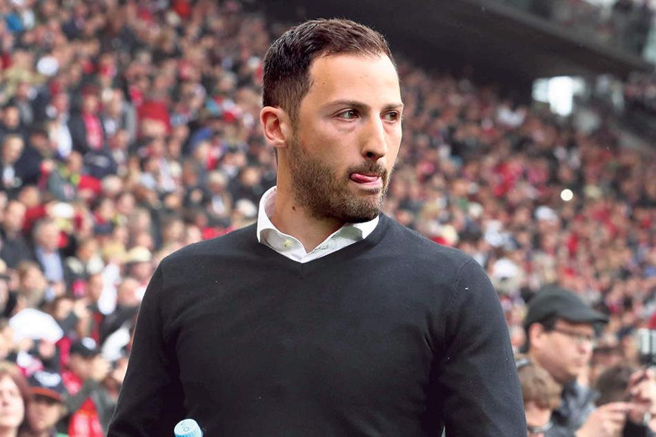 Die Flaschen sind noch voll: Aues Trainer Domenico Tedesco ist fest davon überzeugt, dass er  mit seiner Mannschaft den Klassenerhalt schafft.