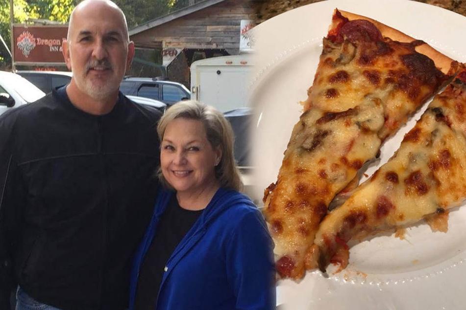 Richard und Julie Morgan konnten sich über ihre Lieblingspizza freuen.