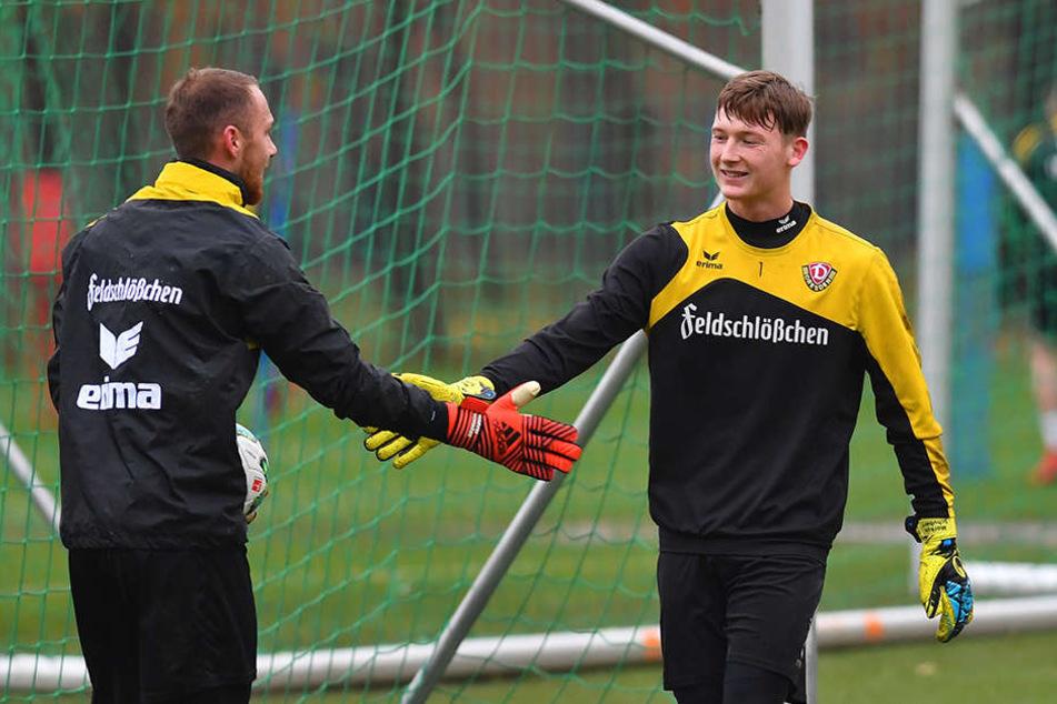 Marvin Schwäbe (links) ist Stammtorwart bei Dynamo. Markus Schubert könnte ihn jetzt ersetzen.