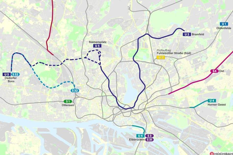 So soll der Verlauf der Strecke der neuen U-Bahn-Linie U5 aussehen.