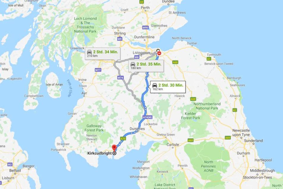 Im Norden startete seine Fahrt ins 160 Kilometer südlich gelegene Kirkcudbright.