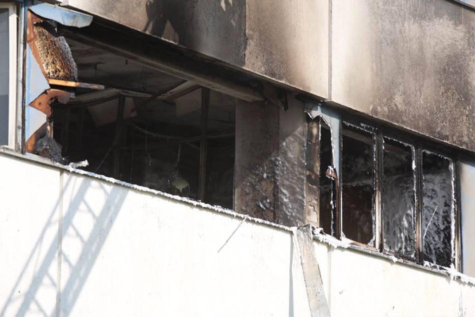 Die zweite Etage des leerstehenden Bürogebäudes an der Karslruher Str. stand in Flammen.