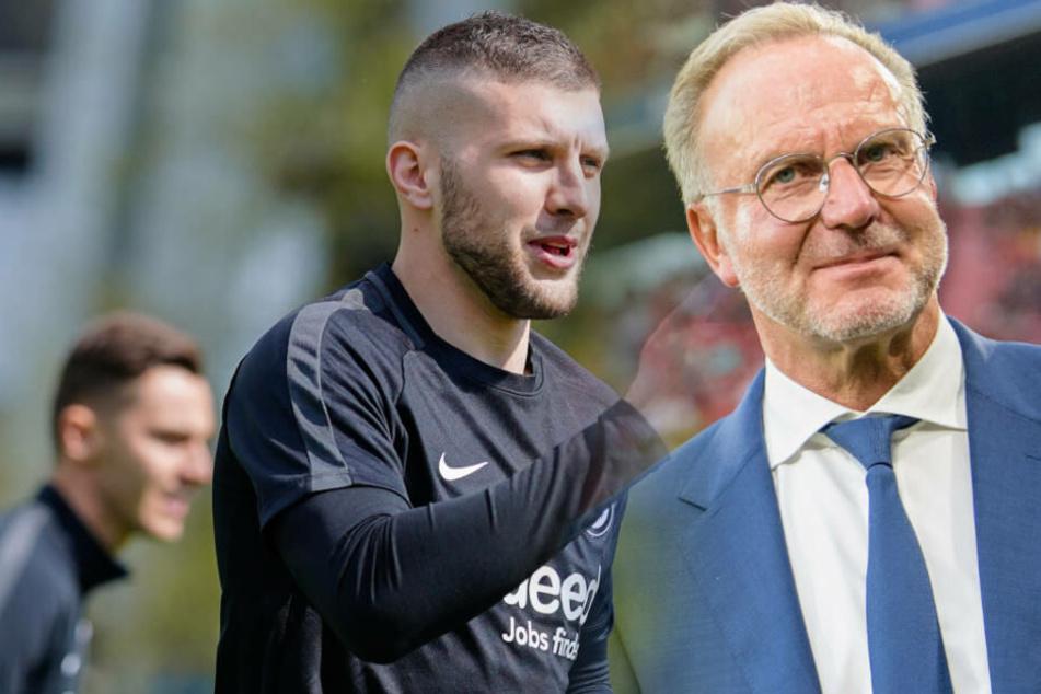 In München könnte Ante Rebic (li.) Champions League spielen. Aber Bayern-Boss Rummenigge (re.) dementiert das Wechsel-Gerücht.