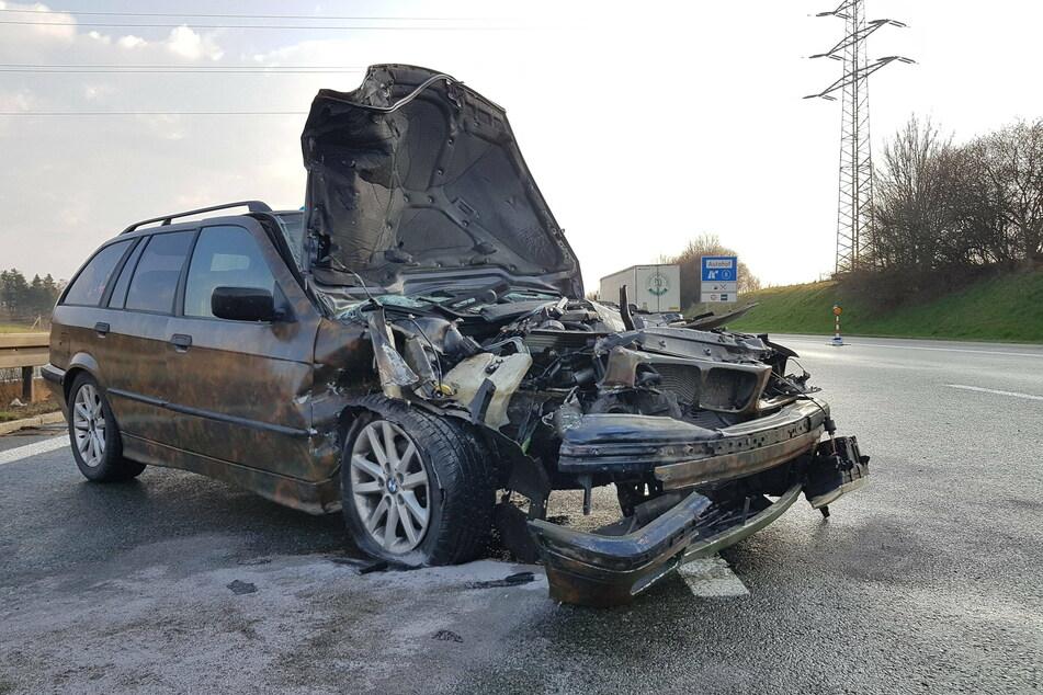 Heftiger Crash mit BMW auf A72