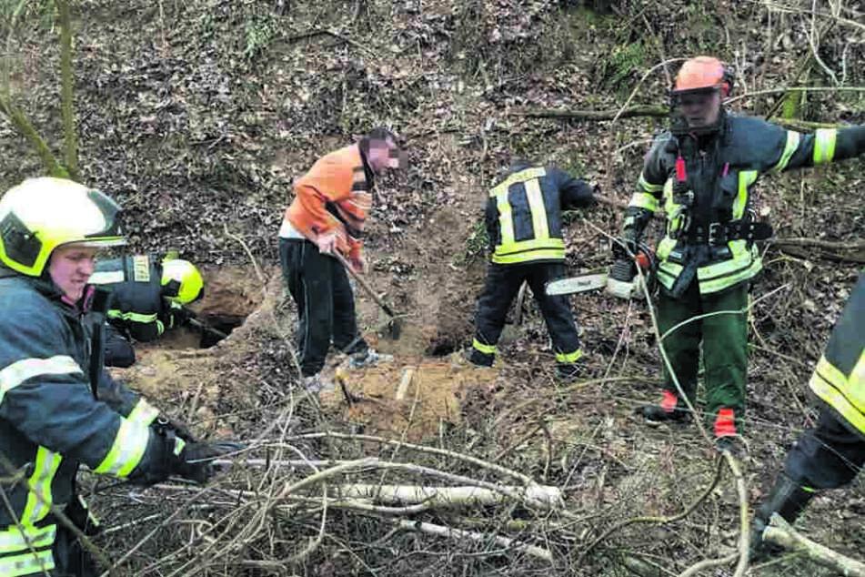Mit Kettensäge und Schaufel versuchte die Feuerwehr das Hündchen zu befreien.