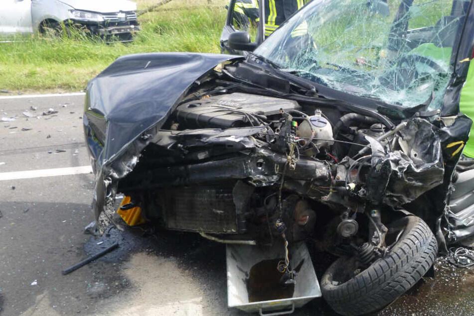 Das Foto zeigt einen der beiden am Unfall beteiligten Wagen.