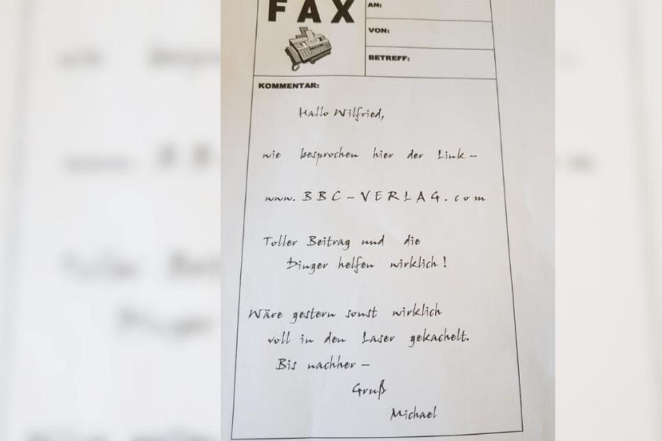 """Dieses Fax erhielt eine TAG24-Leserin von """"Michael""""."""