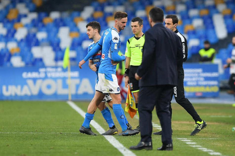 Diego Demme (l.) wurde in der 65. Minute für Fabian (2.v.l.) eingewechselt.