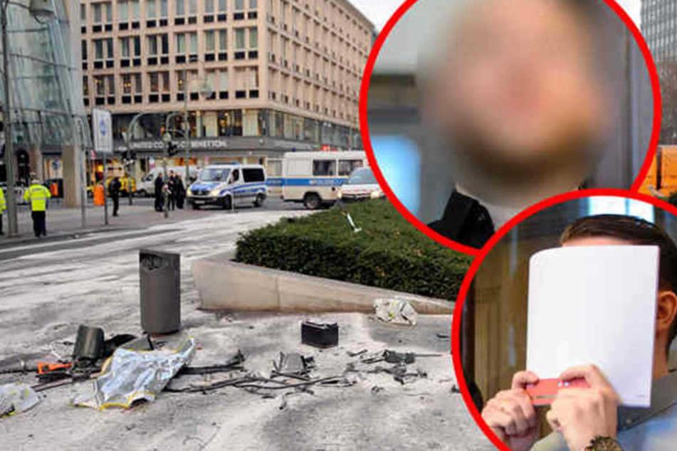 Die beiden angeklagten Raser vom Berliner Ku'damm bei einem ihrer früheren Prozesse. (Bildmontage)