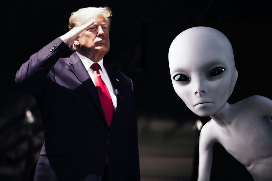 Donald Trump (74, l.) has allegedly been working with aliens throughout his presidency (collage).