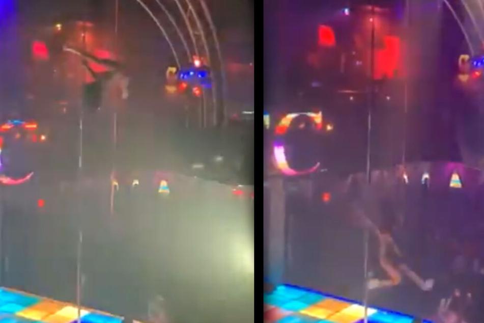 Horror-Video: Pole-Tänzerin stürzt mehrere Meter ab