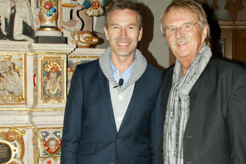 ZDF-Moderator Dirk Steffens mit dem Vorsitzenden der Carlowitz-Gesellschaft, dem Chemnitzer Stadtrat Dieter Füßlein.