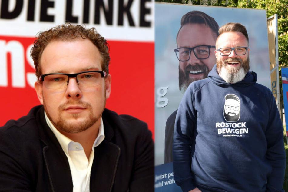 Steffen Bockhahn von den Linken (links) und Claus Ruhe Madsen (parteilos) kämpfen um das Oberbürgermeister-Amt von Rostock.