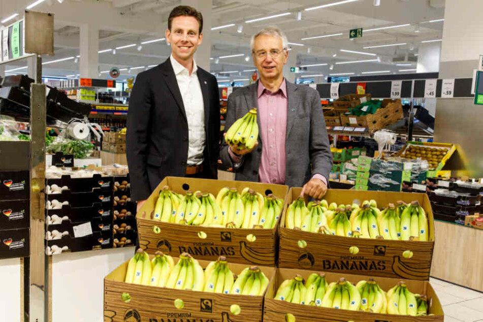 Jan Bock und Dieter Overath (Vorstandsvorsitzender von TransFair e.V.) im September 2018.
