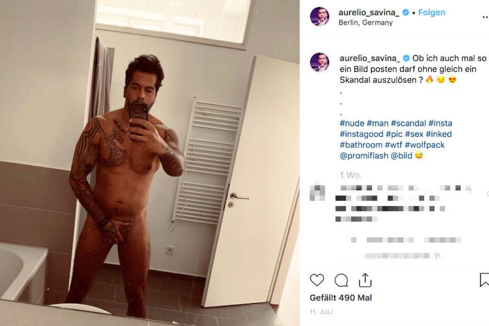 Aurelio zeigt sich auf einem Instagram-Foto nackt, hält nur eine Hand vor seinen Penis.