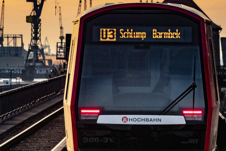Malerisches Panorama und oft fotografiert: Eine U3 fährt an der Hamburger Hafen-Kulisse vorbei.