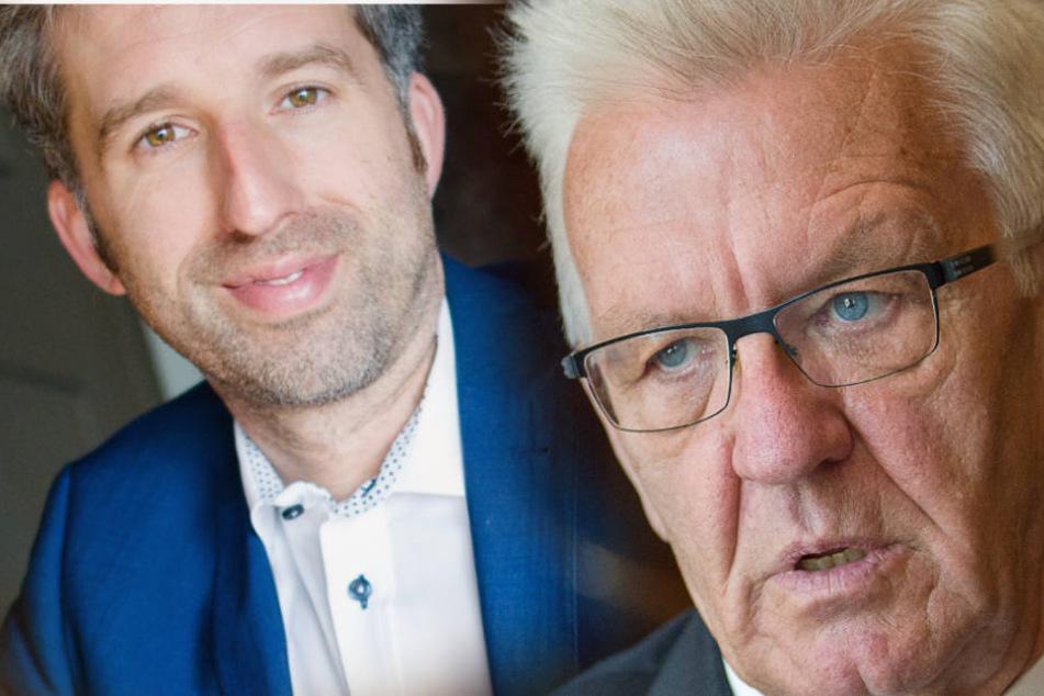 Baden-Württembergs Ministerpräsident Winfried Kretschmann (r.) kritisiert Tübingens OB Boris Palmer (l.). (Fotomontage)