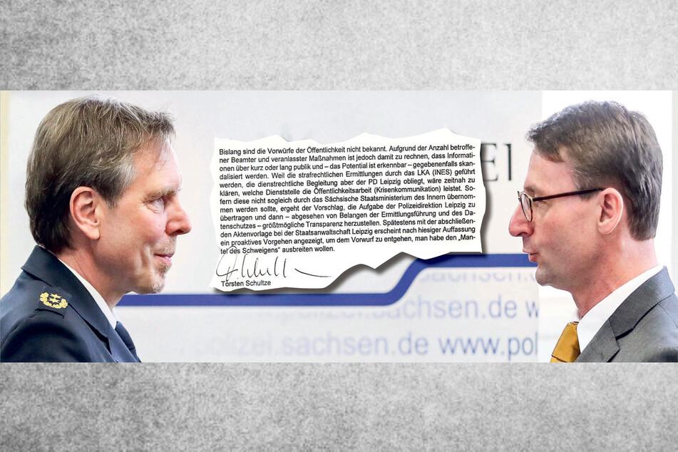 Zwei Männer ein Schreiben: Während Leipzigs Polizeipräsident Torsten Schultze (55, l.) im Dezember Transparenz forderte, zog Sachsens Innenminister Roland Wöller (49, CDU, r.) das Verschweigen des Korruptionsskandals vor.