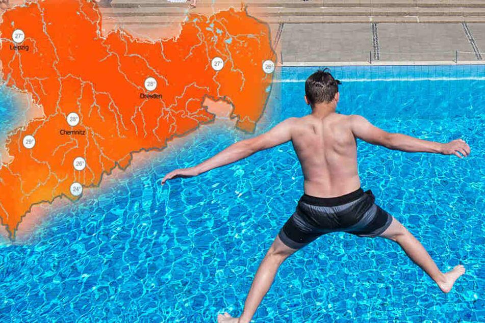 Am Wochenende landen die hohen Temperaturen ins Freibad ein.